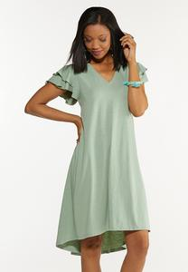 Flutter Sleeve Shirt Dress