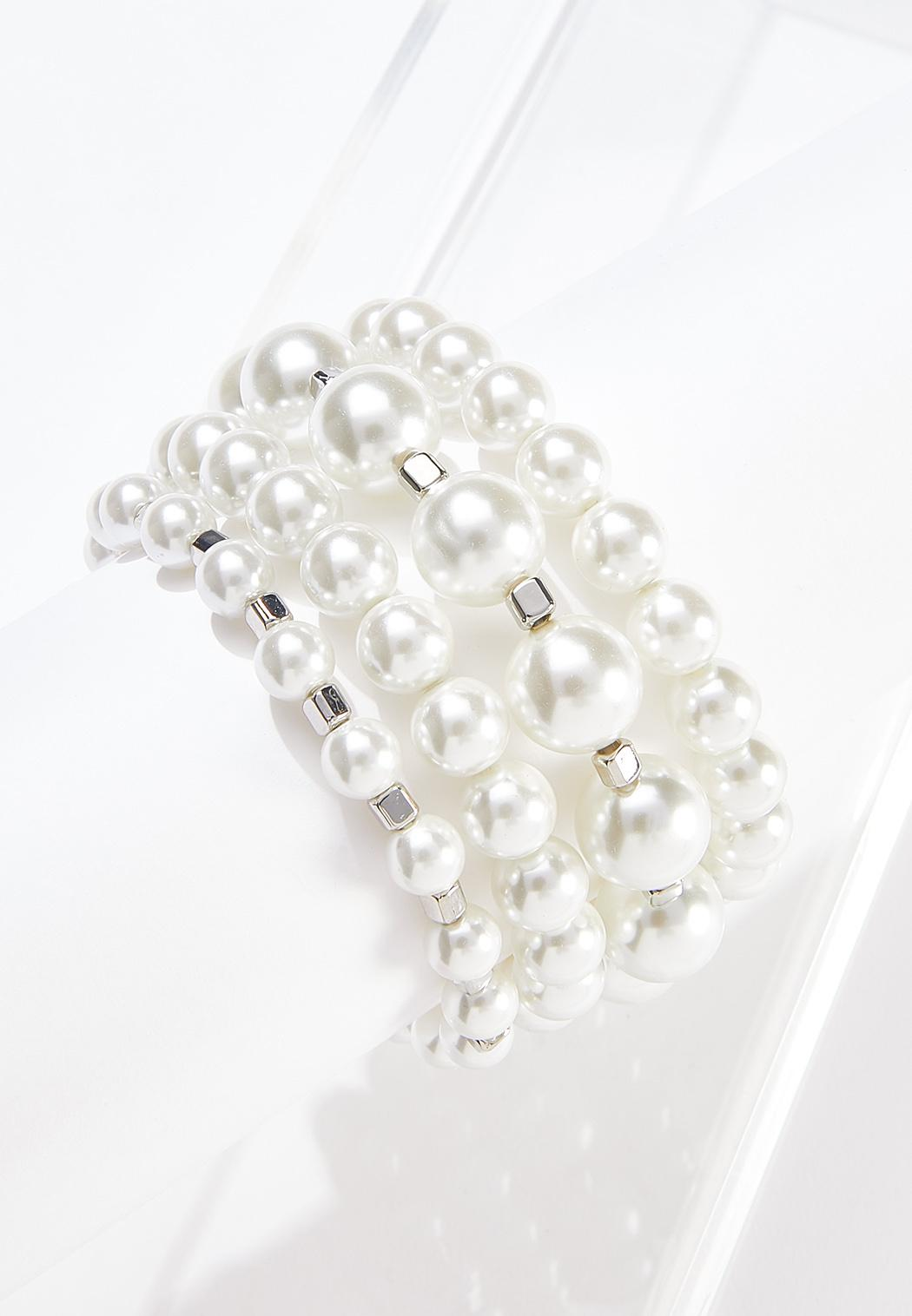 Layered Pearl Stretch Bracelet