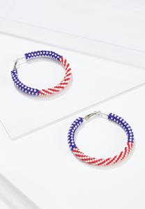 Americana Seed Bead Hoop Earrings