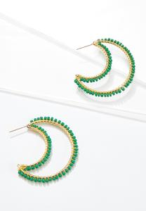 Seed Bead Moon Earrings