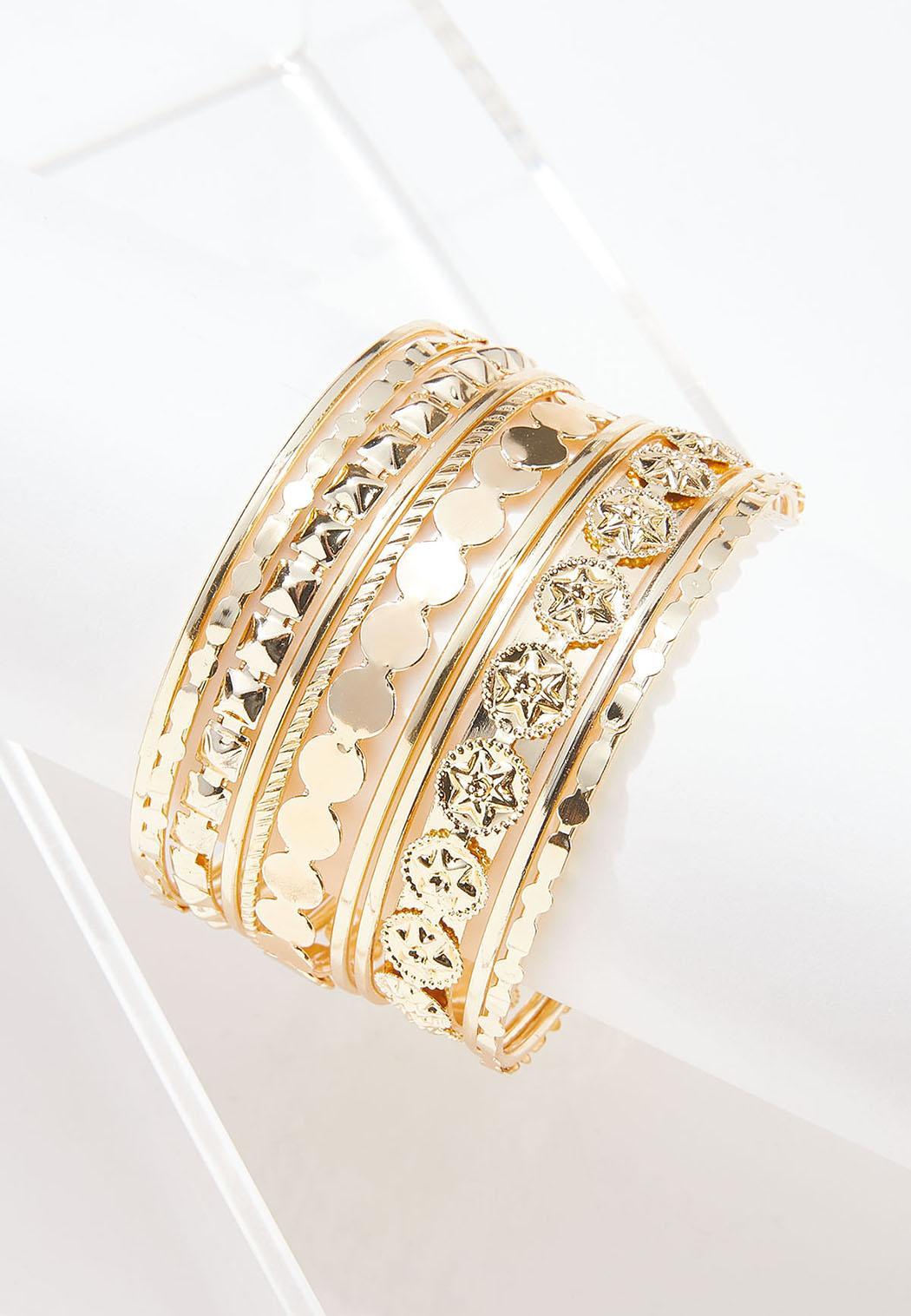 Gold Metal Bracelet Set