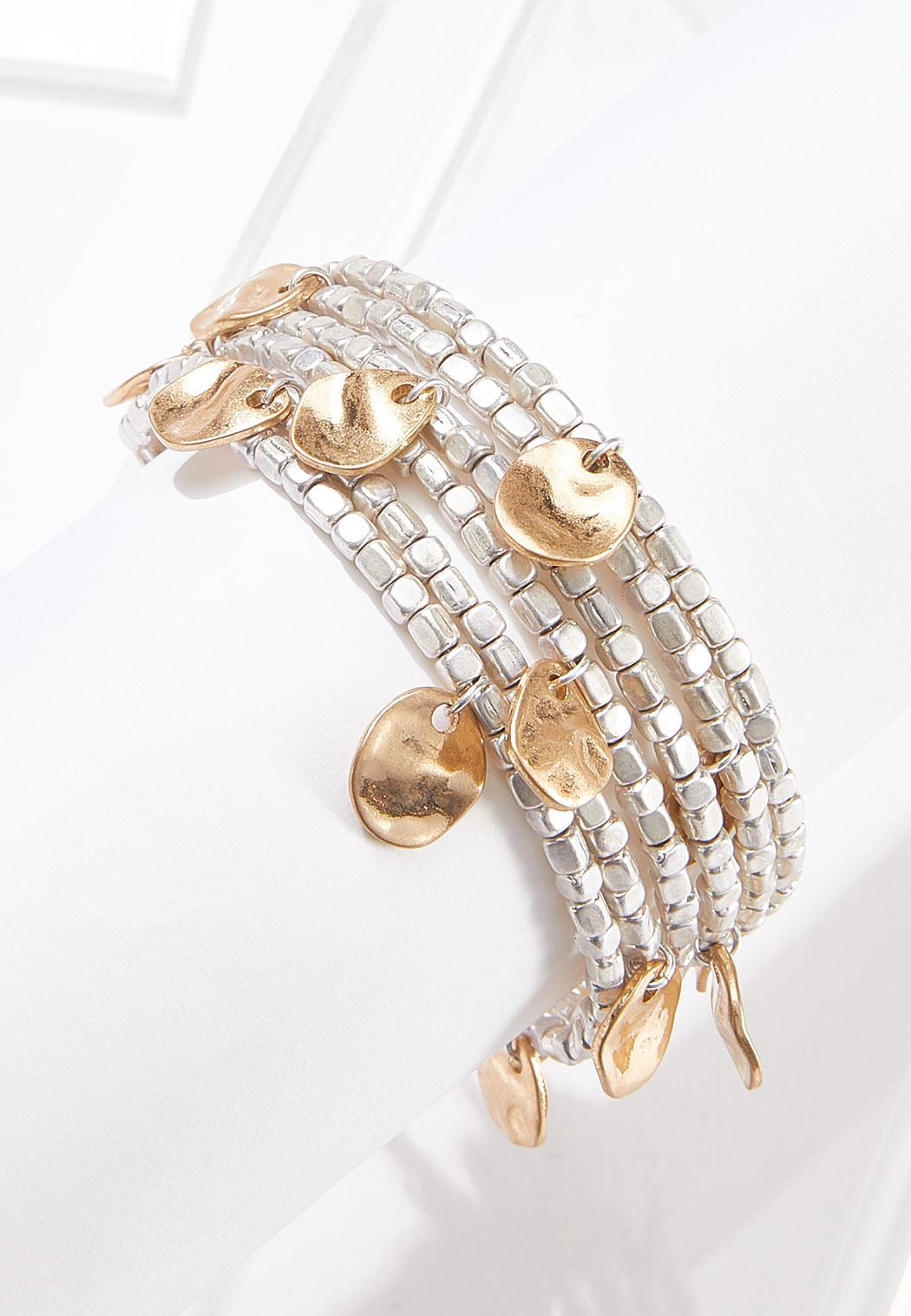 Coiled Gold Disc Bracelet