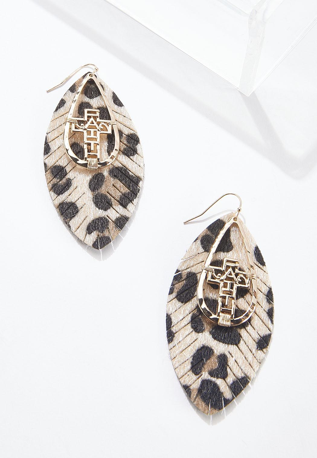 Leopard Feather Cross Earrings
