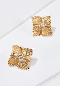 Golden Wavy Square Earrings