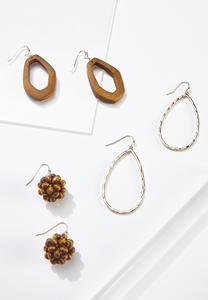 Mixed Wood Metal Earring Set