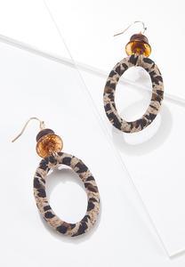 Leopard Fabric Wrapped Earrings