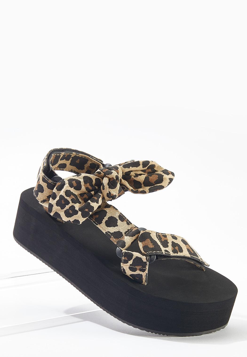 Leopard Velcro Strap Flatform Sandals