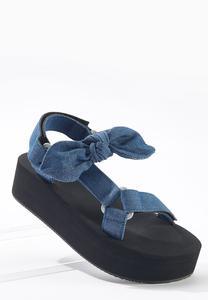 Denim Velcro Strap Flatform Sandals
