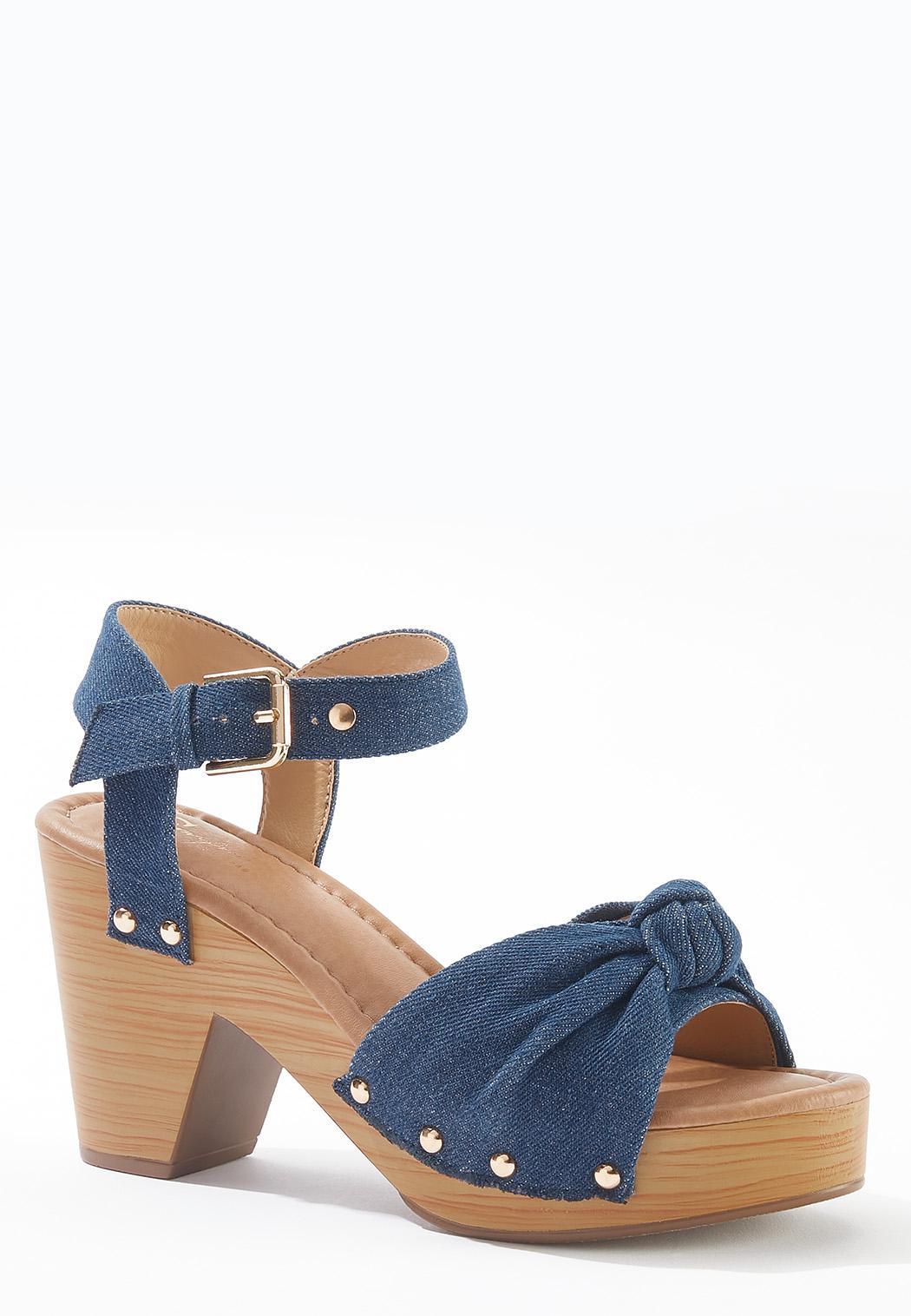 Denim Knotted Platform Sandals