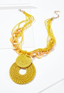 Golden Raffia Pendant Necklace