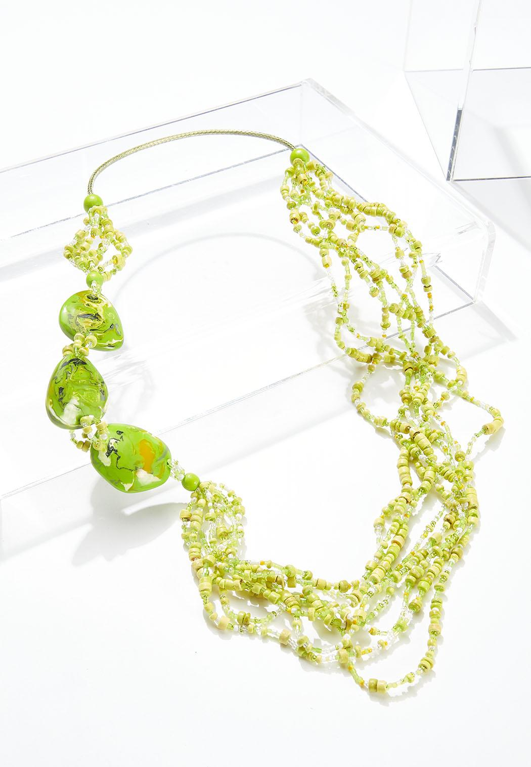 Mixed Wood Resin Bead Necklace
