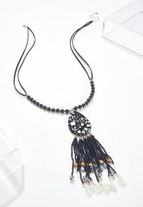 Tasseled Resin Pendant Necklace