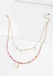 Layered Rainbow Bead Disc Necklace