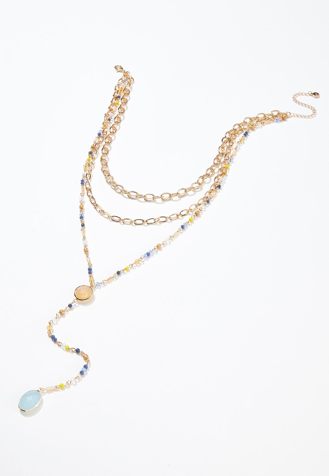 Beaded Stone Y-Necklace