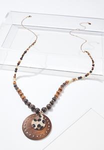 Leopard Disc Pendant Necklace