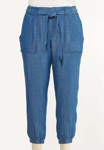Plus Size Chambray Joggers