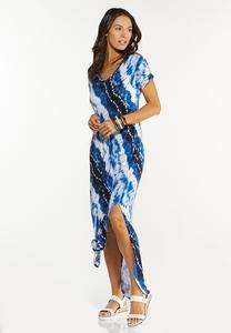 Plus Size Knotted Tie Dye Maxi Dress