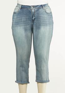 Plus Size Cropped Potassium Wash Skinny Jeans