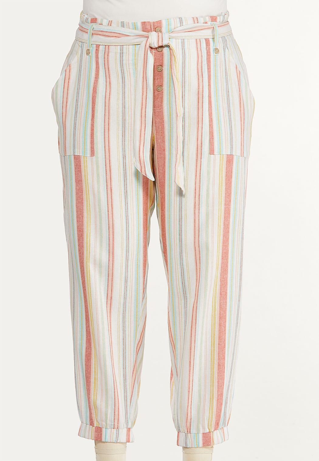 Plus Size Striped Linen Joggers