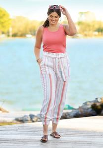 Plus Size Striped Linen Joggers