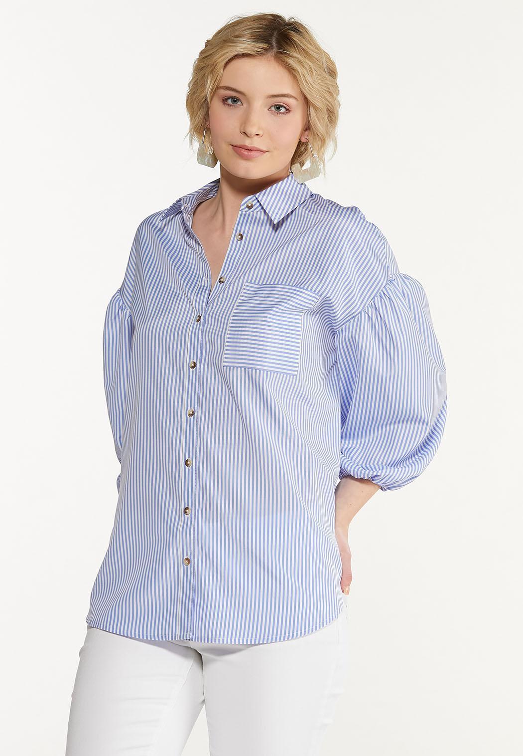 Plus Size Blue Striped Puff Sleeve Shirt