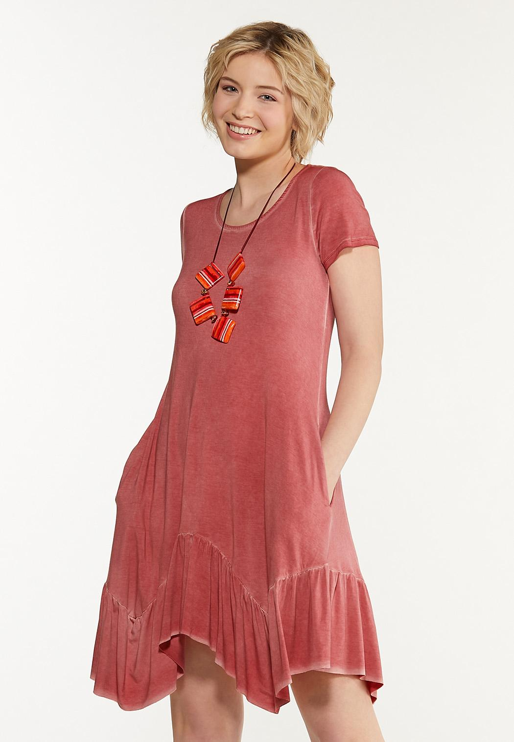 Plus Size Dyed Garnet Swing Dress