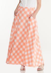 Plus Size Peach Gingham Maxi Skirt