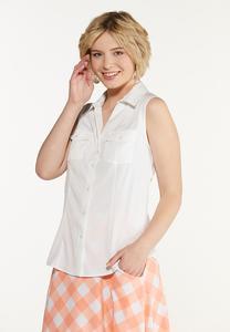 Plus Size Button Down Sleeveless Shirt