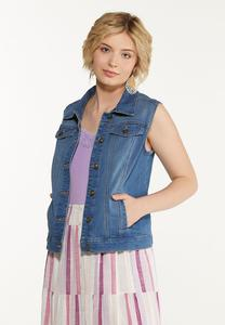 Plus Size Denim Vest