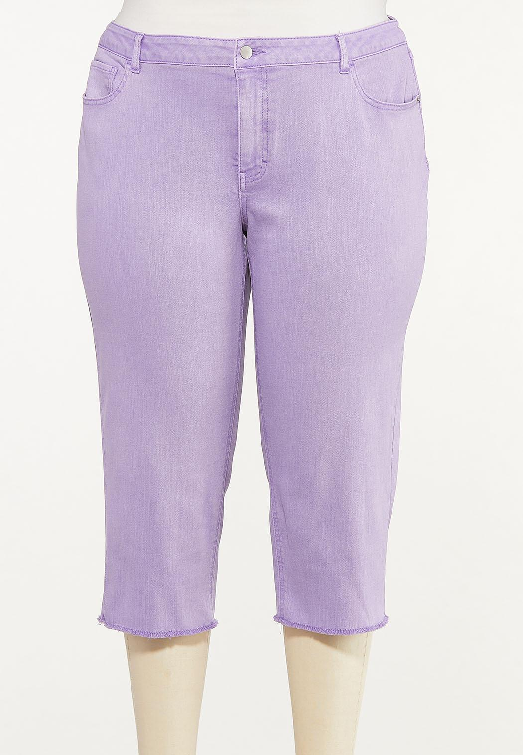 Plus Size Curvy Frayed Cropped Jeans