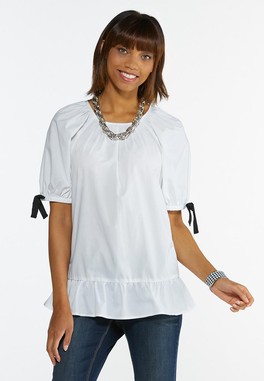 Ribbon Sleeve Poplin Shirt