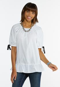 Plus Size Ribbon Sleeve Poplin Shirt