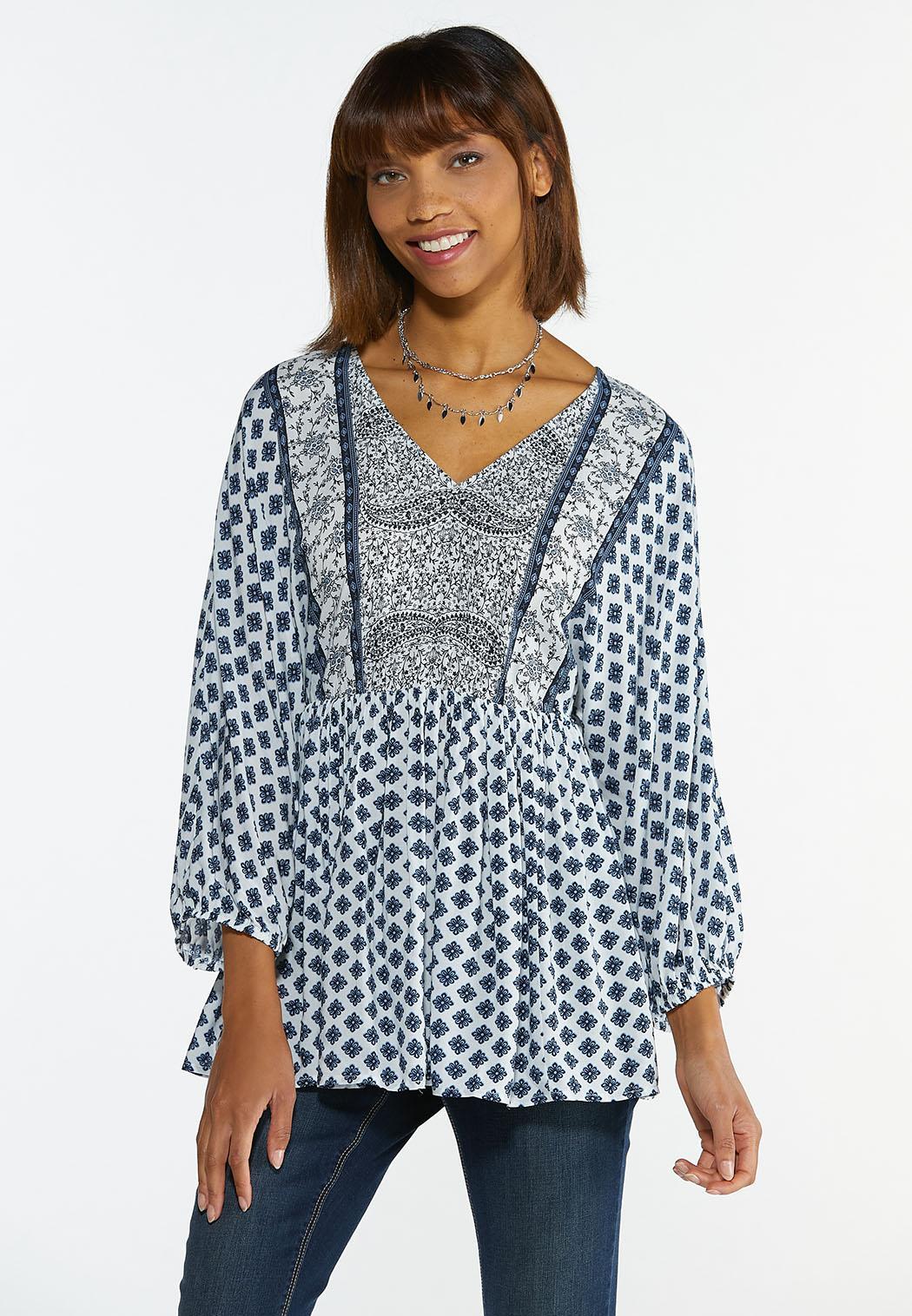Plus Size Blue Mixed Print Tunic