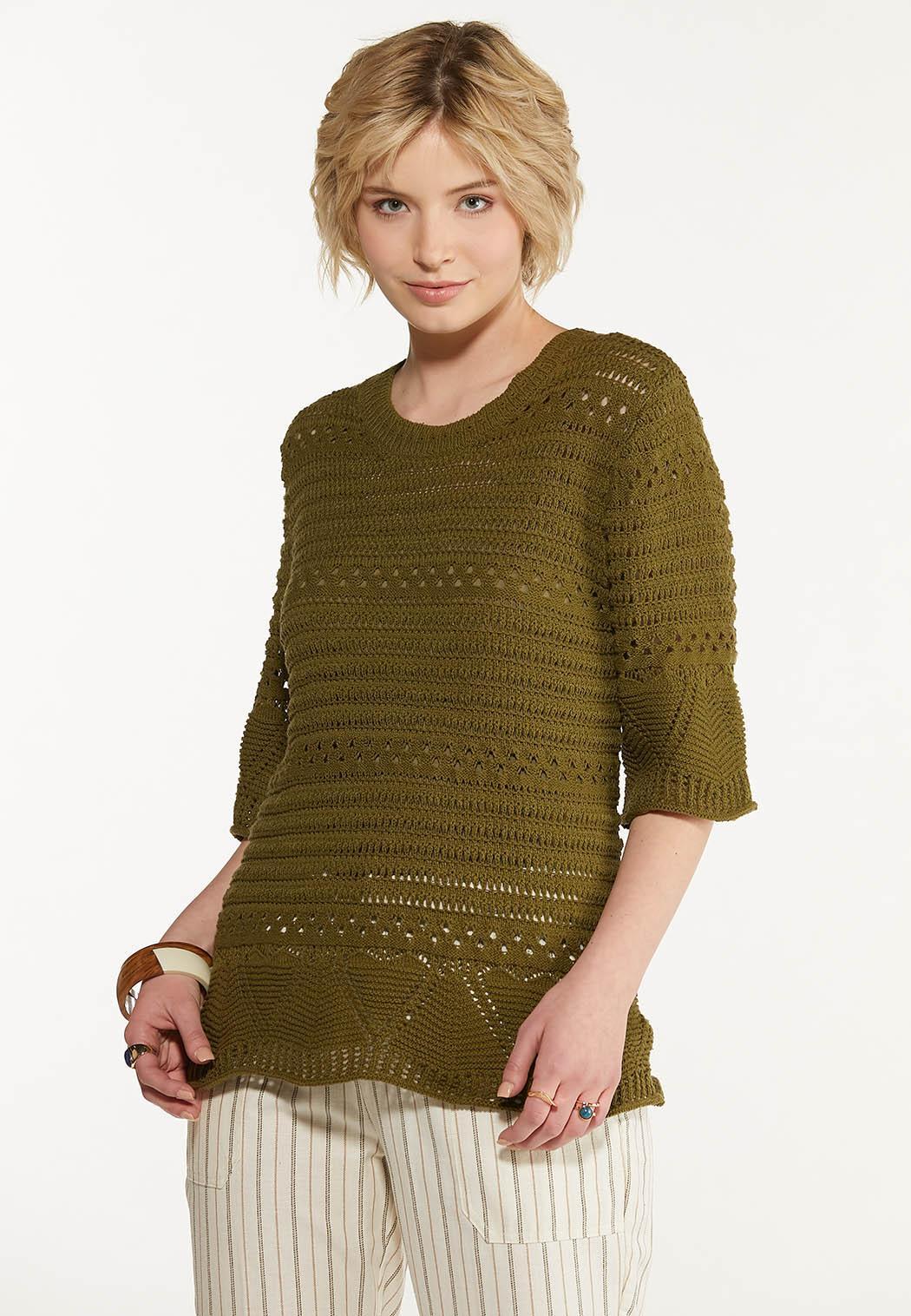 Olive Open Stitch Sweater