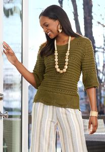 Olive Open Stitch Sweater