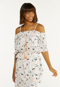 Peach Floral Off Shoulder Top