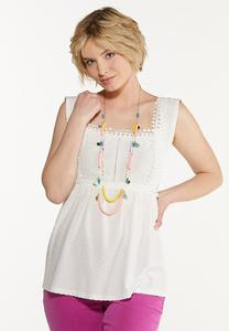 Plus Size White Lace Trim Tank