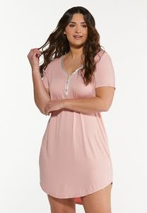 Plus Size Satin Trim Sleep Shirt