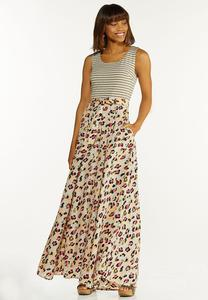 Petite Stripe Animal Maxi Dress
