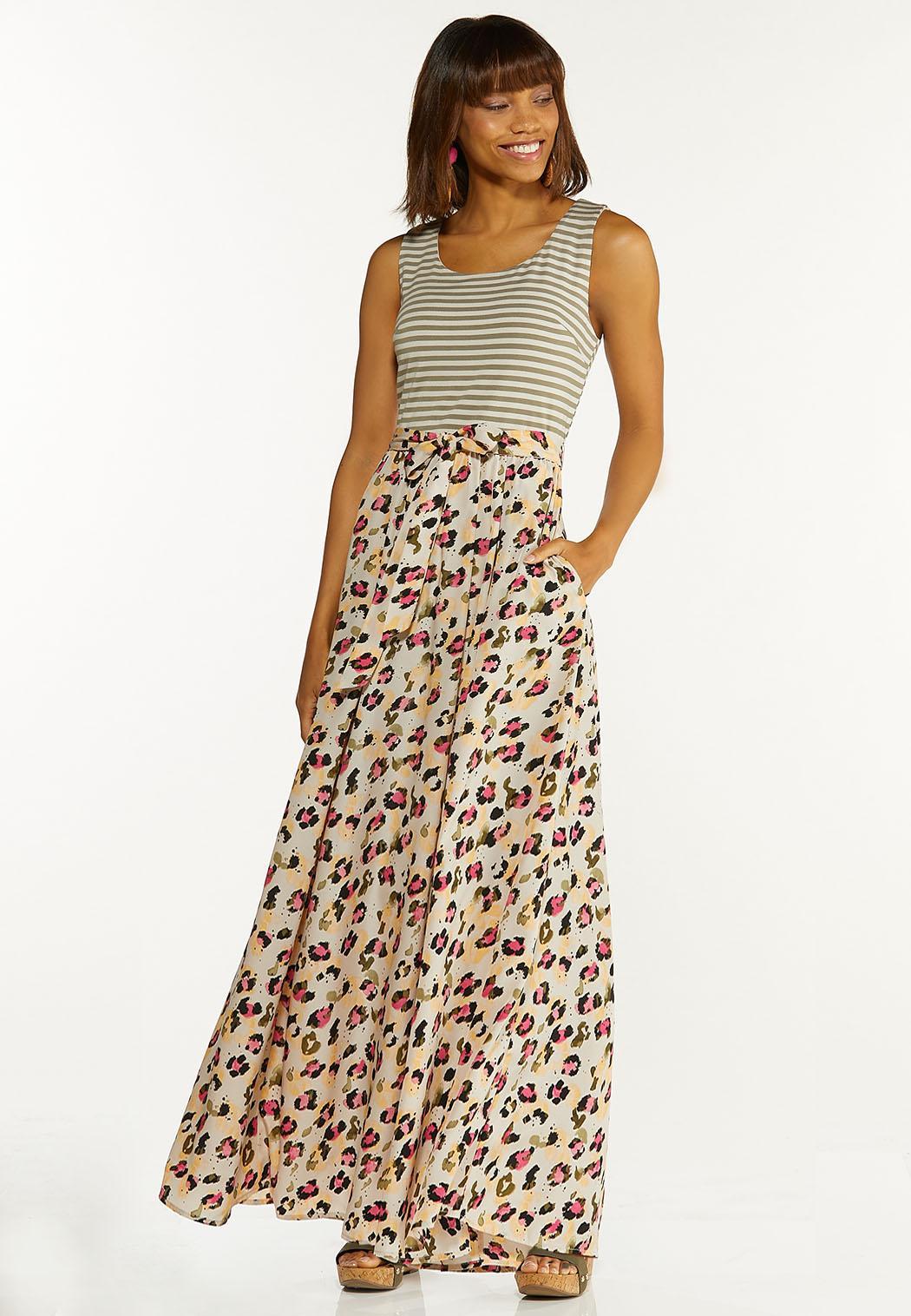 Plus Size Stripe Animal Maxi Dress