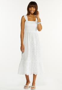 Smocked Eyelet Midi Dress