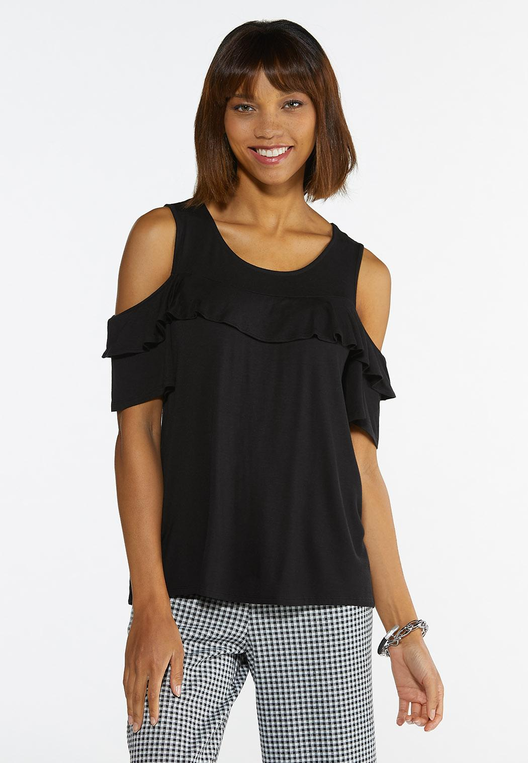 Plus Size Ruffled Cold Shoulder Top