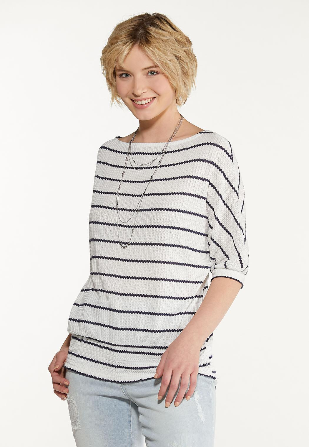 Plus Size Striped Thermal Top