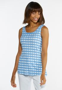 Plus Size Blue Gingham Tank Top