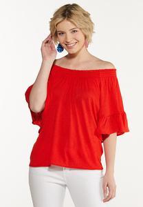 Red Flutter Sleeve Top