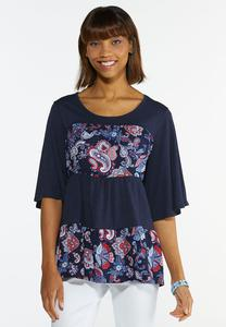 Plus Size Tiered Paisley Top
