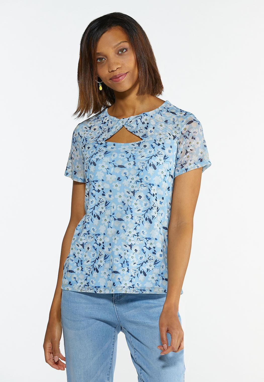 Plus Size Floral Twisted Cutout Top