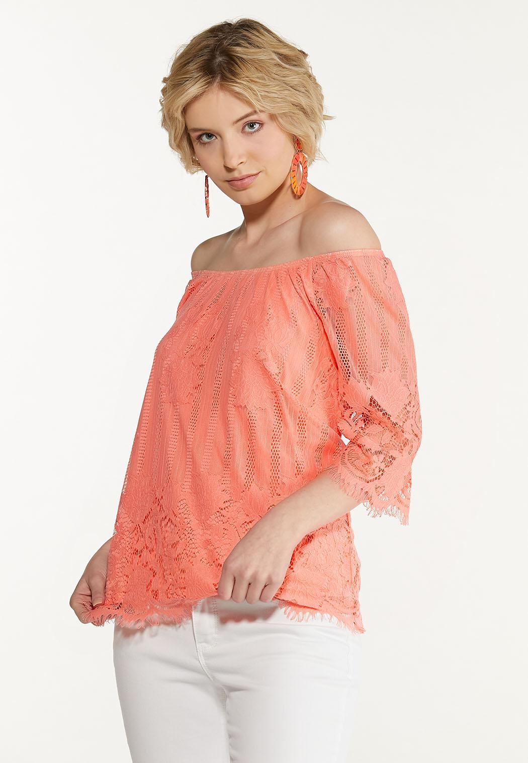 Plus Size Peachy Lace Top