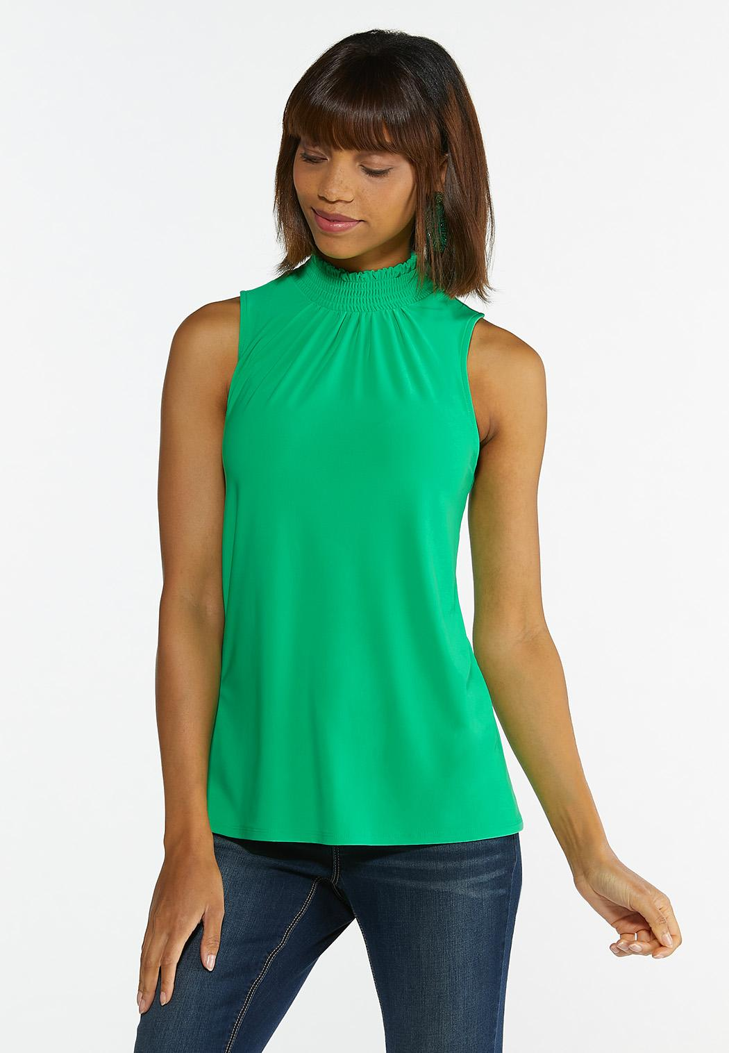 Plus Size Solid Smocked Tank