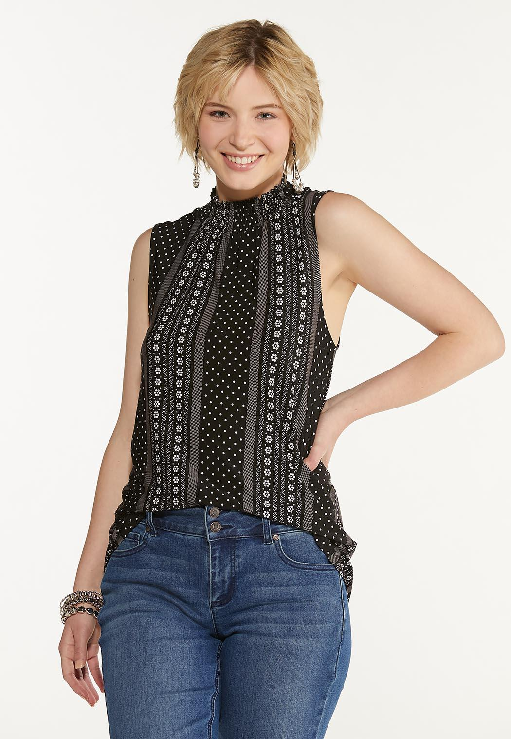 Plus Size Dotted Floral Mock Neck Tank